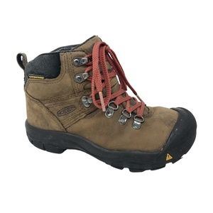 Keen Boys Brown Leather Hiking Boots  Size 1